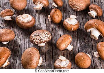 Fresh whole mushrooms or agaricus, close up - Fresh whole...
