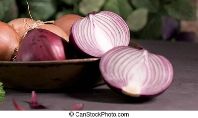 Fresh whole onions and parsley - Fresh whole onions in...