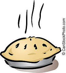 Fresh whole pie - Fresh, hot, whole pie in pan cooling off,...