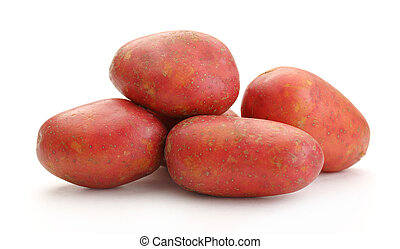 Fresh whole potatoes on the white background