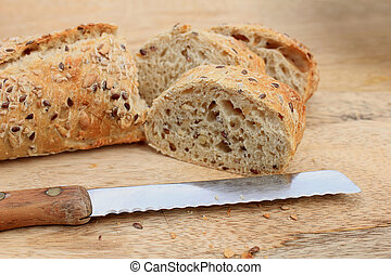 Fresh wholegrain baguette