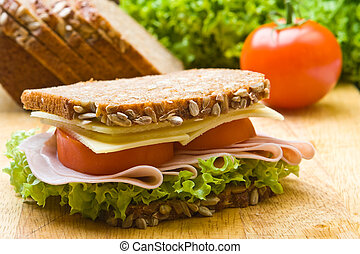 Fresh wholemeal sandwich - Fresh wholemeal cheese and ham ...