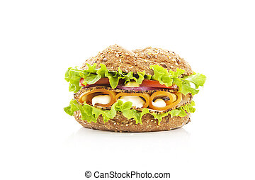 Fresh wholewheat sandwich isolated.
