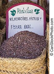 Fresh, wicker baskets stuffed medicinal healing herbs