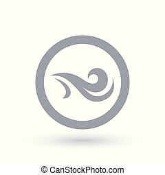 Fresh wind icon in circle. Air flow symbol. - Fresh wind...
