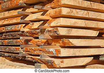 Fresh wooden studs