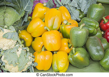 Fresh yellow and green pepper