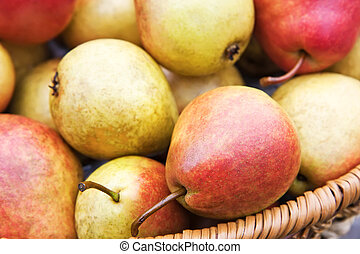 Fresh yellow and red pears