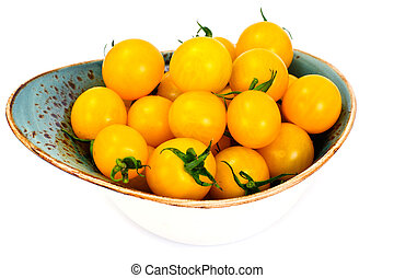 Fresh Yellow Cherry Tomato on Whyite Background