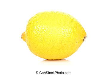 Fresh Yellow Lemon on White Background