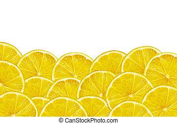 fresh yellow lemon slices on white background