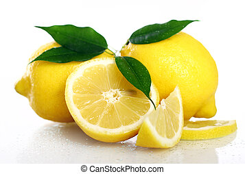 Fresh yellow lemons on white background
