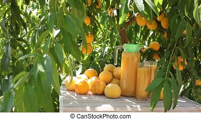 Fresh yellow peaches and juice in glass jug outdoors on ...