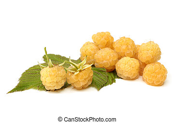 Fresh yellow raspberries with leaves