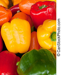 Fresh yellow red and green peppers