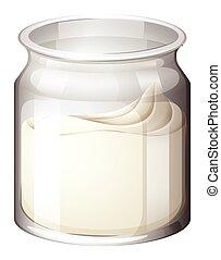 Fresh yogurt in jar