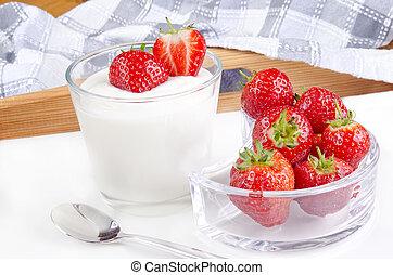 fresh yogurt with organic strawberries