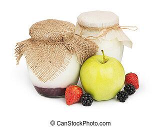 Fresh yogurts in jars