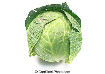 Fresh young cabbage isolated on white