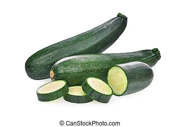 fresh zucchini cucumber isolated on white background