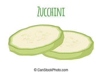 Fresh zucchini squash, vegetarian vegetable. Cartoon flat...