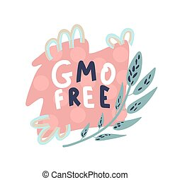 freshicons, gmo, text-, produto, fazenda, modernos, bandeira, promocional, criativo, natural, free.