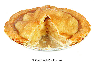 Homemade apple pie fresh from the oven on white background.