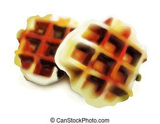 Freshly Baked belgian Waffles Isolated on White Background...