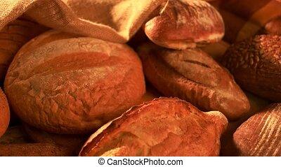 Freshly baked bread background.