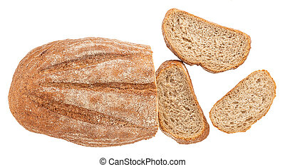 freshly baked bread isolated on white background. Top view