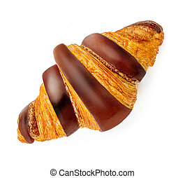 Freshly baked chocolate croissant isolated on white background, top view. Close up.