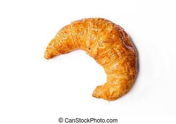 freshly baked croissants on white background, top view