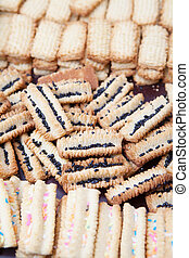 Freshly baked decorated condensed milk biscuits