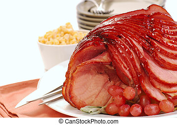 Freshly baked Easter spiral cut ham with honey brown sugar glaze