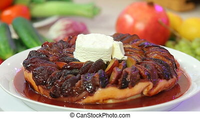 Freshly baked fruitcake with icecream presentation