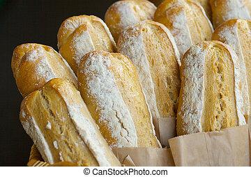 Freshly baked German Bread Loaves at farmers market