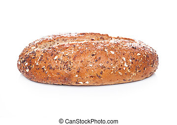 Freshly baked loaf of bread with oats on white