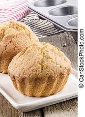 freshly baked muffin on a plate