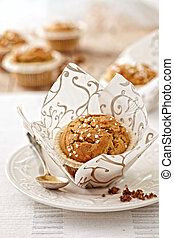 freshly baked muffin on white plate