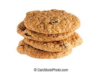 Freshly baked Oatmeal raisin cookie - Closeup photography of...