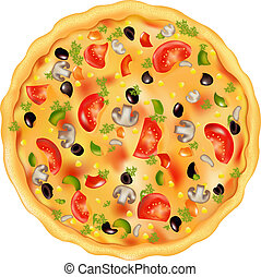 Freshly Baked Pizza With Mushrooms, Tomatos, Olives And Peppers, Isolated On White