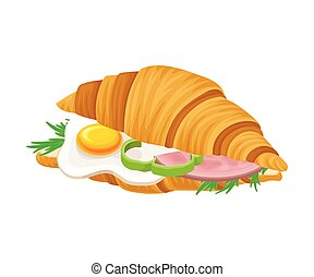 Freshly Baked Realistic Croissant with Stuffing Vector ...