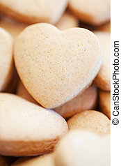 Freshly baked shortbread heart shaped biscuits - Many...