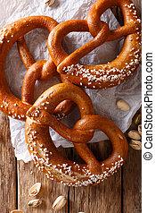 Freshly baked soft pretzel with generous sprinkling of...