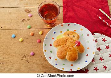 Freshly baked Stuten man on a festive table - Freshly baked ...