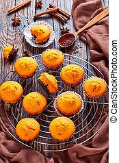 freshly baked sweet pumpkin muffins