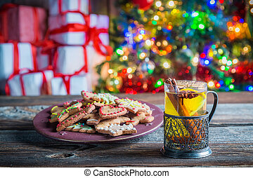 Freshly baked tea and gingerbread cookies for Christmas