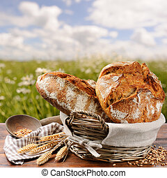 Freshly baked traditional bread in basket