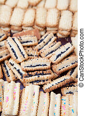 Freshly baked vanilla cookies cooling off