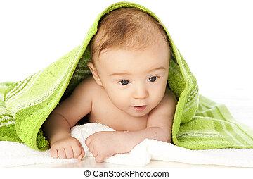 Freshly bathed baby isolated on white